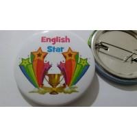 English Star İngilizce Rozet (44 mm)